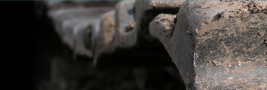 close up of machine treads